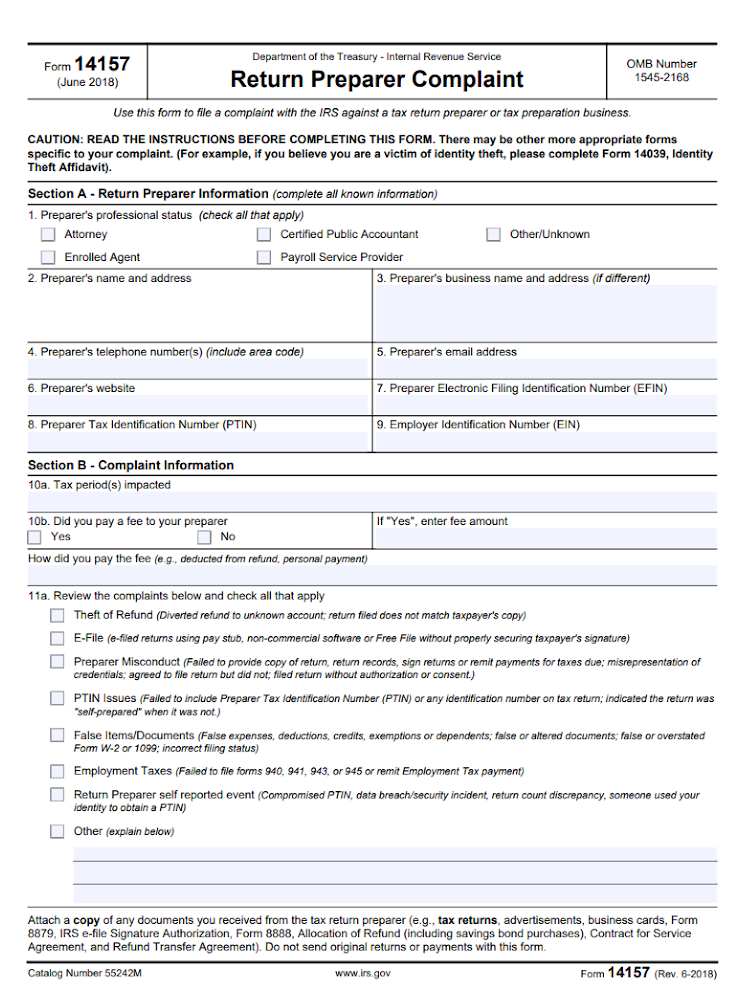 Form 14157 with sections for preparer complaints.
