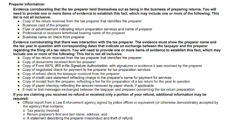 List of evidence required from the IRS.