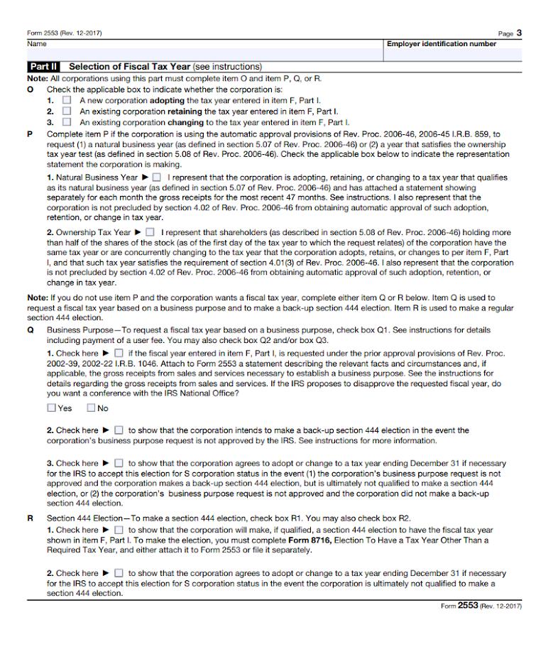 Part II of Form 2553.
