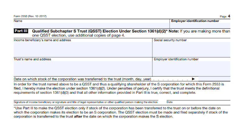 Part III of Form 2553 with beneficiary information.