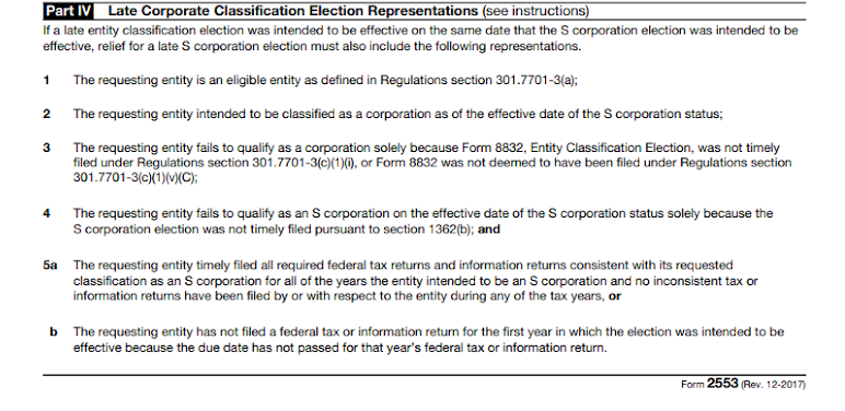 Part IV of Form 2553.