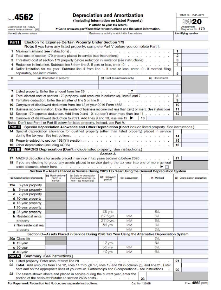 Page 1 of IRS Form 4562.