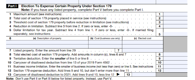 Part I of Form 4562, where Section 179 information goes.