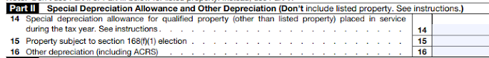 Part II of Form 4562 is for special depreciation allowances.
