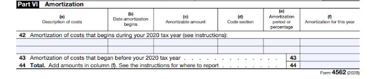 Part VI of Form 4562.