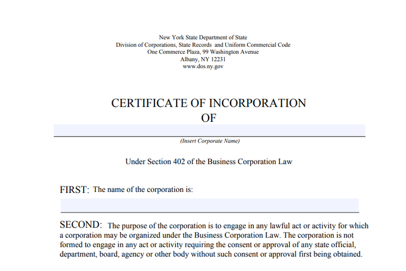 A blank New York State certificate of incorporation