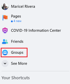 """The left-hand panel of the Facebook home screen with the """"Groups"""" icon boxed in red."""