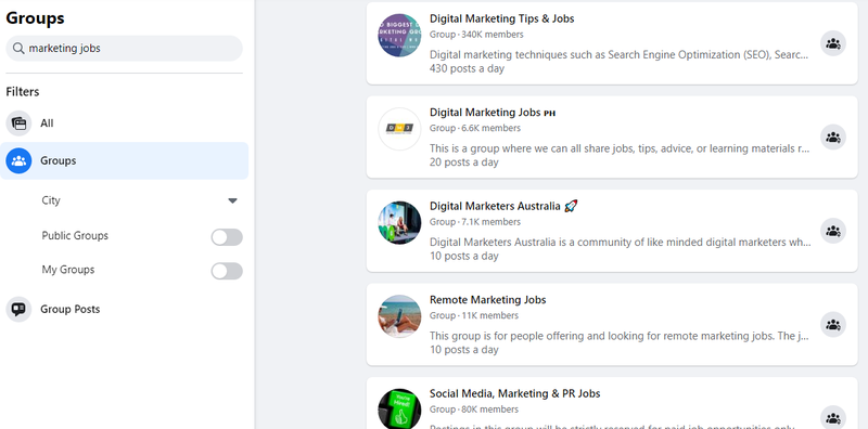 """After doing a Facebook Groups search for """"marketing jobs,"""" a list of results is displayed on the right-hand side of the screen."""