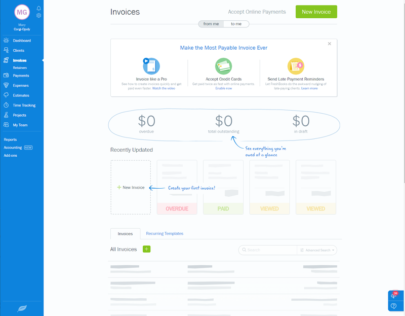 The FreshBooks dashboard offers access to various application features.