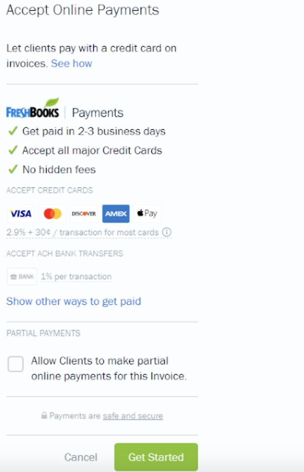The FreshBooks Online Payment option.