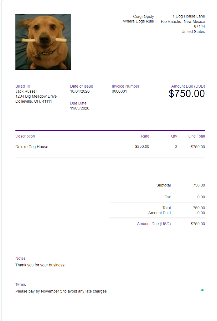 A completed FreshBooks invoice.