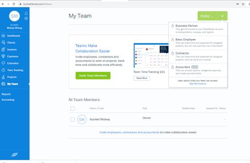 Screenshot of FreshBooks My Team dashboard