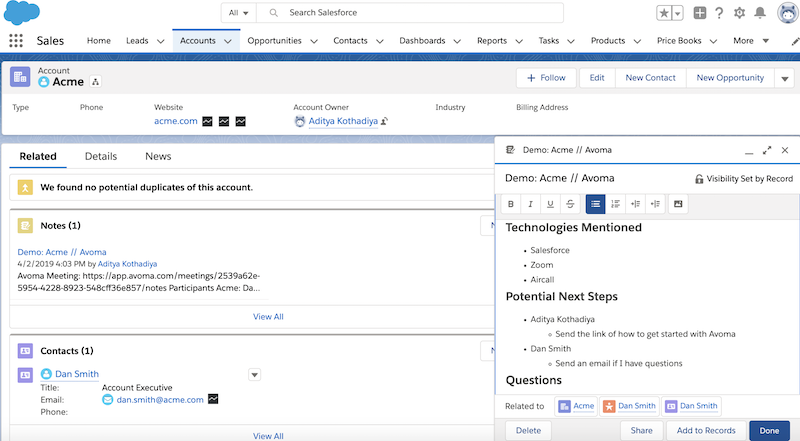 Salesforce account dashboard content panes for company and contact information, notes, and potential tasks to facilitate a deal
