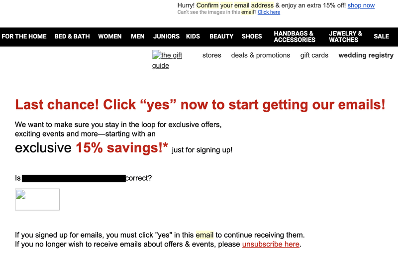 Macy's email campaign body copy screenshot.