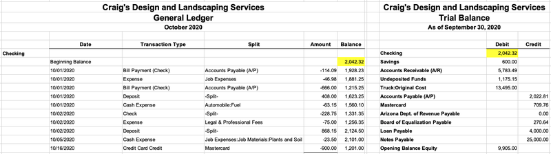 A company's opening checking account balance for October 2020 is shown on the left, matching the previous month's ending balance shown on the right.