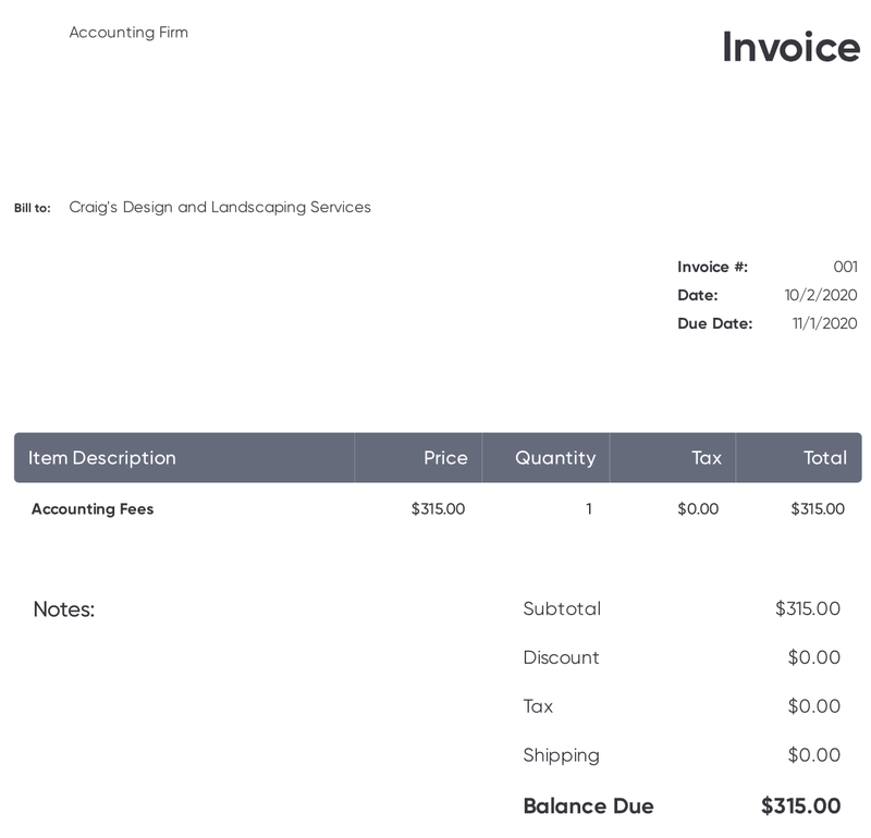 """An invoice from """"Accounting Firm"""" lists $315 in accounting fees."""