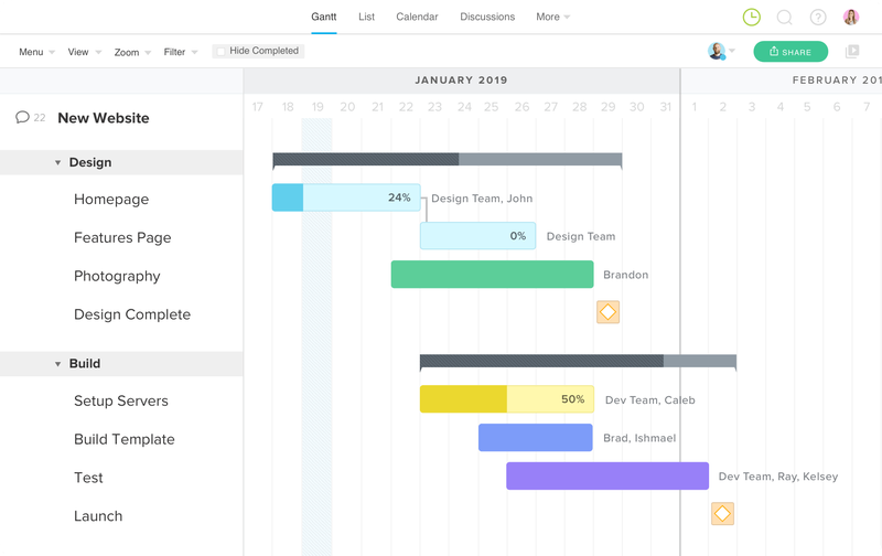 TeamGantt's Example of Gantt chart for January 2019 with different projects on timeline