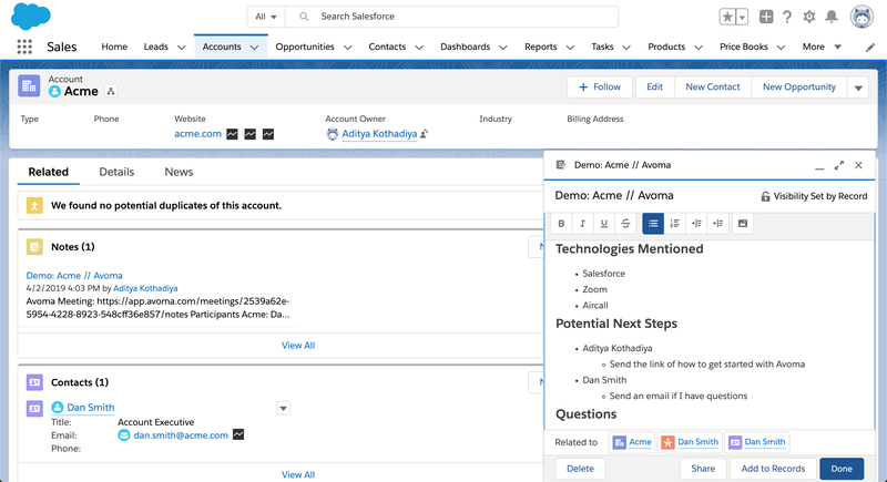 The Salesforce account record interface uses content panes for contact information, topics discussed, next steps, and more.