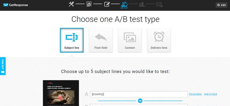 GetResponse A/B Test Screenshot