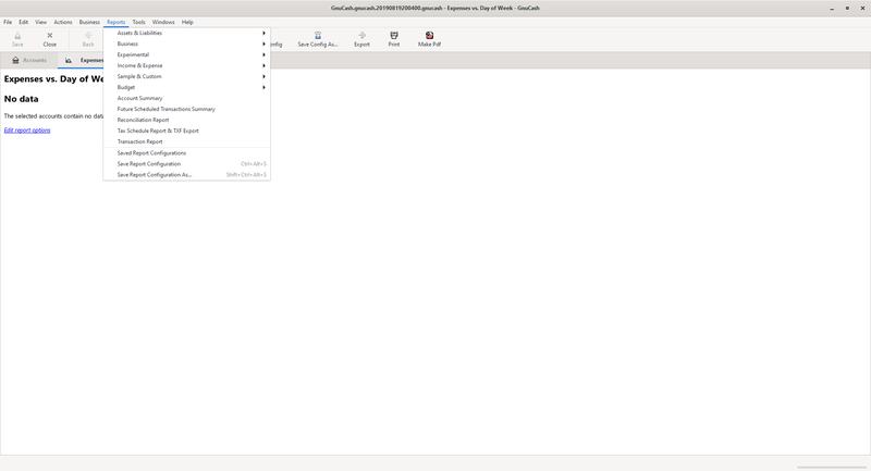 Dropdown menu with GnuCash report options