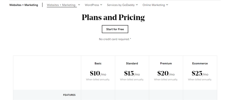 Pricing plan options for GoDaddy Website Builder are displayed on a computer screen.