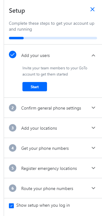 GoToConnect's initial onboarding includes phone settings and locations.