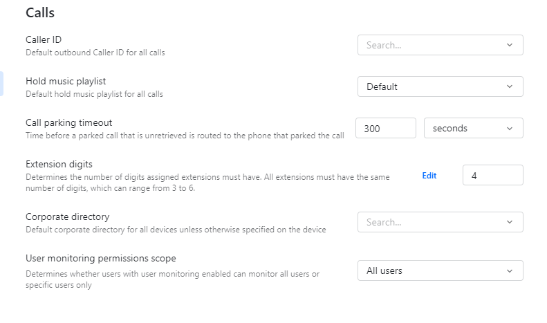 GoToConnect's call management system includes hold music, parking timeouts, and extension digits.