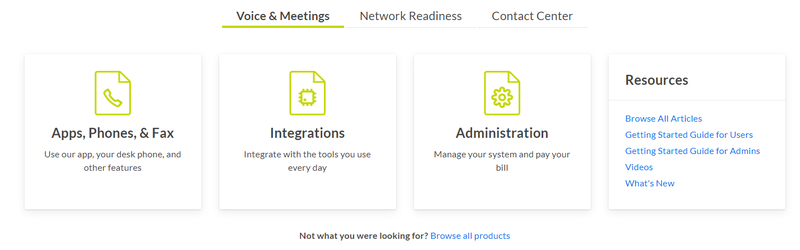 GoToConnect's support features include apps, phones, and fax with user documentation.