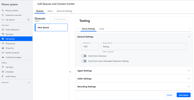 GoToConnect's call queuing system includes agent, caller, and recording settings.