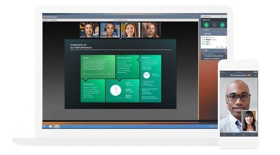 GoToMeeting's screen sharing feature showing a presentation, and a smartphone displaying a video call between two people.