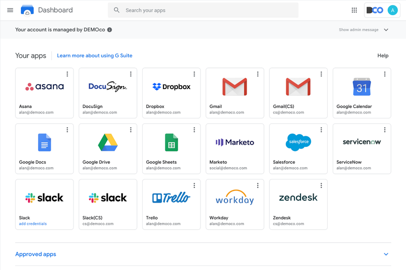 Apps in Google's SSO portal are displayed as icons with text in a grid.