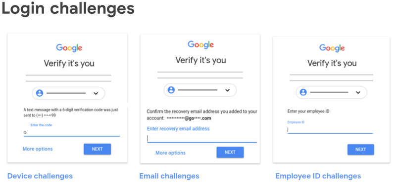 Three types of MFA challenge login screens are displayed side by side.