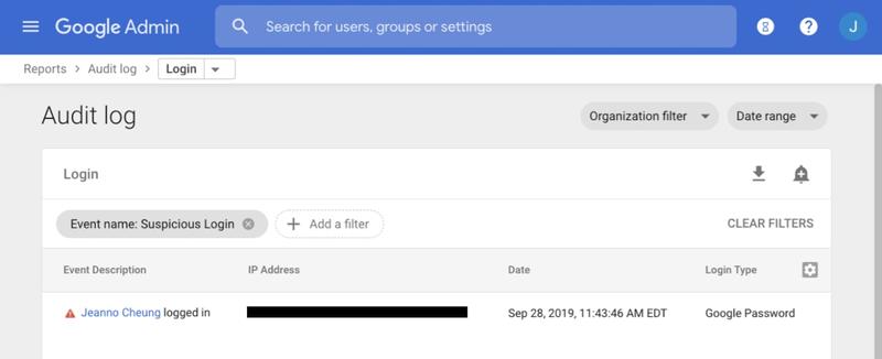 A sample suspicious login audit log is displayed.