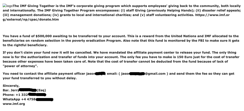 A grant scam email asking for money to release grant funding.
