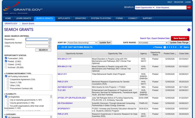 The search portal on grants.gov.