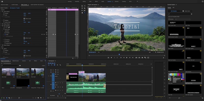 The Graphics workspace in Adobe Premiere Pro.