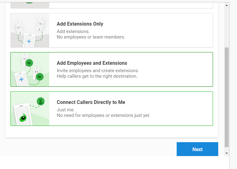 Grasshopper's VoIP onboarding, including remote extensions and call forwarding.