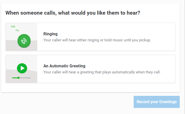 Grasshopper's VoIP automatic greeting and call forwarding features.