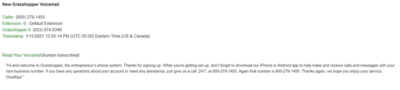 Grasshopper voicemail, including automated transcription services on a VoIP dashboard.