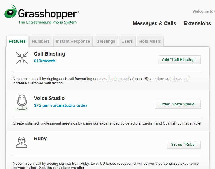 Grasshopper premium and add-on features include voice studio, call blasting, and a Ruby receptionist.