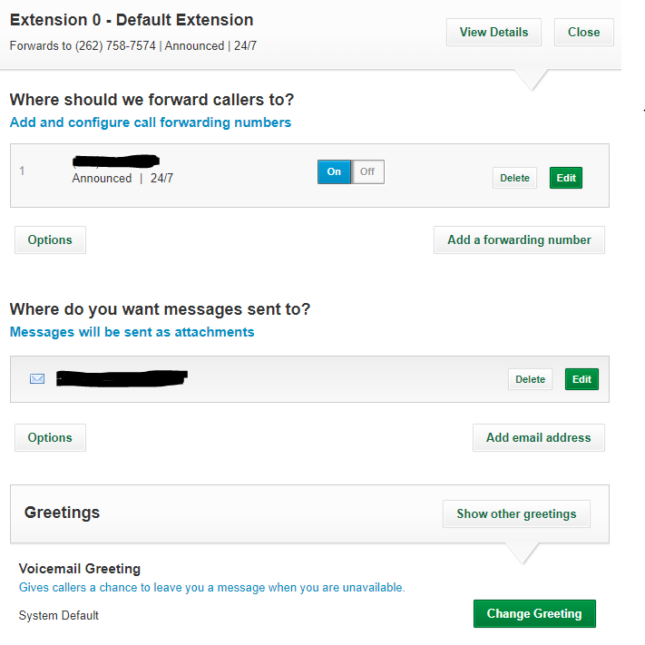 Grasshopper extension dashboard and extension options, including voicemail greetings.