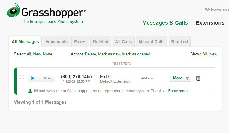 Grasshopper dashboard includes voicemails, faxes, all calls, and transcriptions.