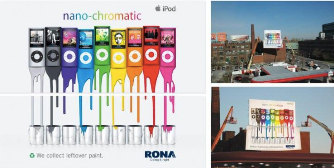Apple's iPod Nano ad on top and Rona's paint ad below.