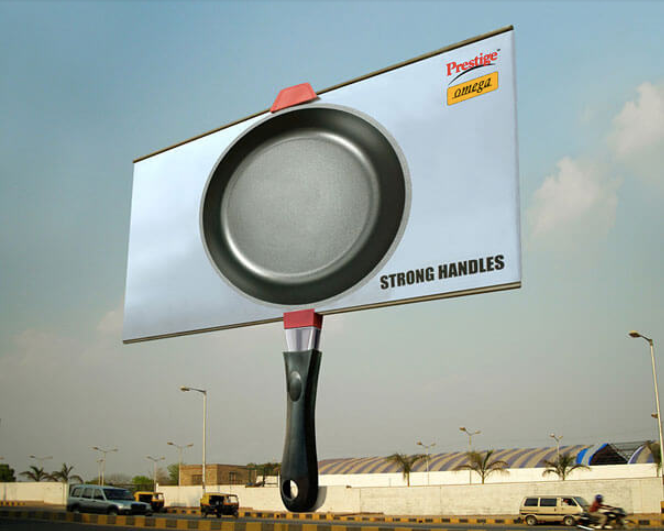 Photo of a frying pan that illustrates the billboard's pole as a handle.