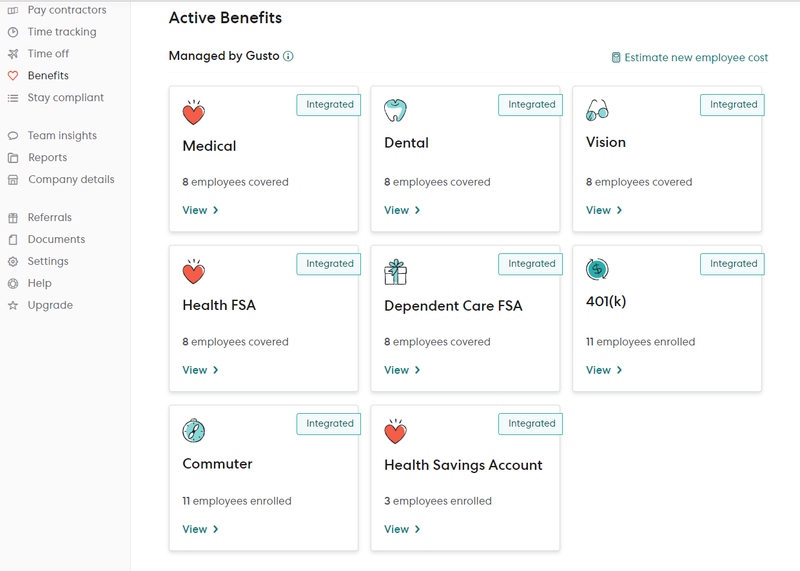 Gusto benefits screen with cards for each type of benefit plan and number of employees enrolled