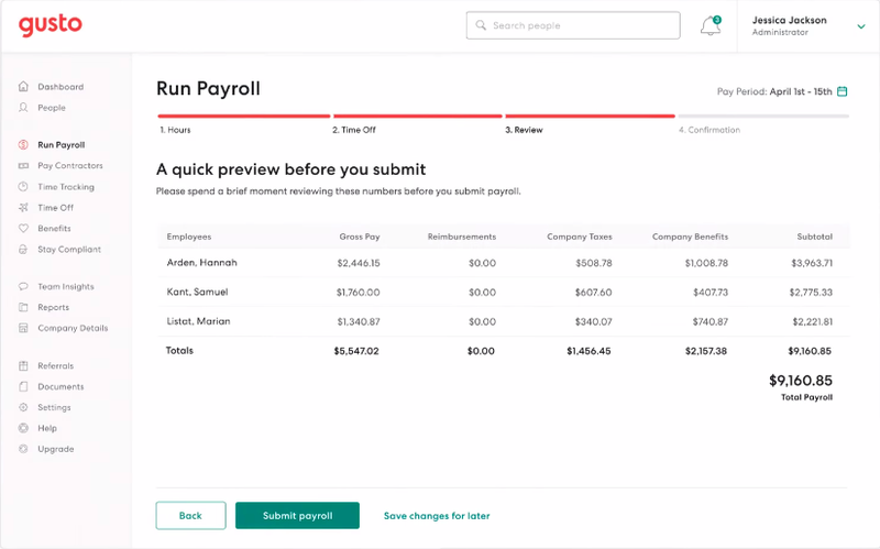 Gusto vs ADP showing Gusto screen to run payroll including information about employees, gross pay, taxes, benefits, etc.