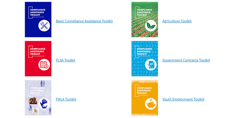 Screenshot of DOL toolkits for basic compliance, FLSA, FMLA, youth employment, and more.