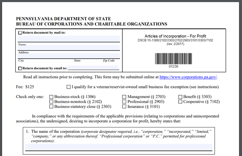 Screenshot of the Pennsylvania state department's articles of incorporation form.