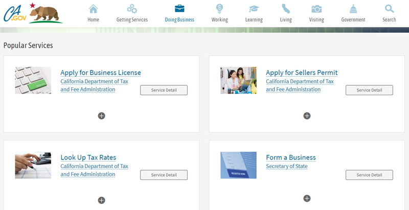 Screenshot of California's Doing Business page.