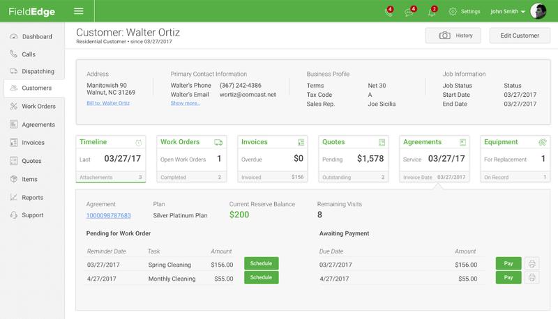 A screenshot of FieldEdge's customer profile area.